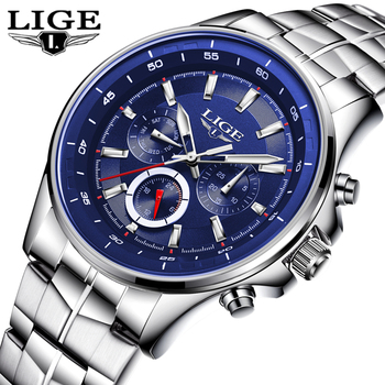 Top Brand Luxury Mens Watches LIGE Military Sports Quartz Watch Men's Business Leather Waterproof Chronograph Relogio Masculino naviforce mens watches top brand luxury analog quartz watch men leather chronograph sports military watches relogio masculino