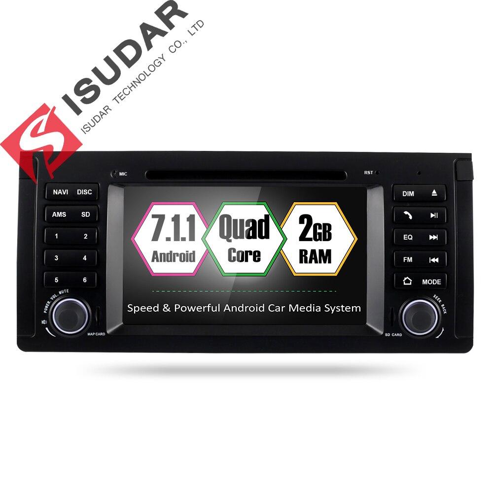 Isudar reproductor Multimedia Android 7.1.1 GPS 2 Din Car Radio Audio Auto para BMW/E39/X5/ m5/E53 2 GB RAM 16 GB ROM Wifi Radio DSP