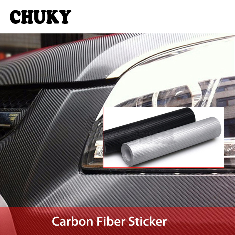 CHUKY 30*127cm Car Styling Carbon Fiber Sticker For Hyundai Creta Tucson BMW X5 E53 VW Golf 4 7 <font><b>5</b></font> Tiguan Kia Rio Sportage 2017 image