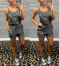 2019 New Arrivals Sexy Camouflage Printed Bodycon Elastic Waist Women Playsuit Tank Top Women Romper Women Overalls(China)