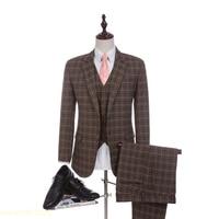Новое поступление Damier проверить ткани Свадебный костюм 2018 Бизнес коричневый костюм для Для мужчин Жених смокинги дружки костюм (куртка + Шт