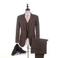 New Arrival Damier Check Fabrics Wedding Suit 2018 Business Brown Suit for Men Groom Tuxedos Groomsman Suit(jacket+pants+vest)