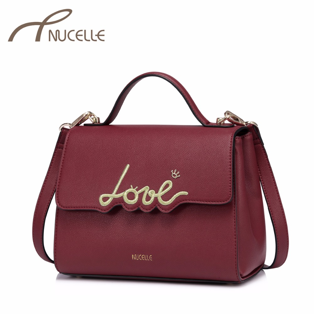 NUCELLE Women's PU Leather Handbags Ladies Fashion Embroidery Crossbody Tote Purse Female Brief For Lover Messenger Bag NZ4134