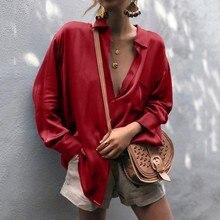 блузка женщины плюс размер женские топы и кофточки Шеин о Женская сплошной цвет длинным рукавом кнопка кардиган блузка топ Z4 в аренду