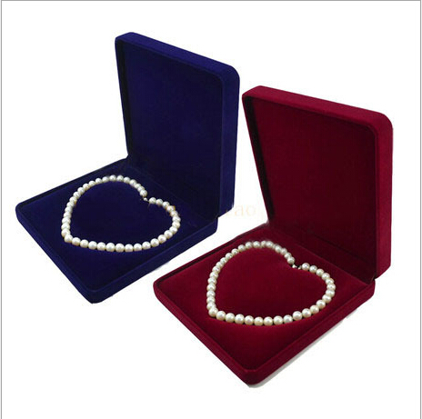 velvet jewelry box pearl necklace box gift box heart shape inside