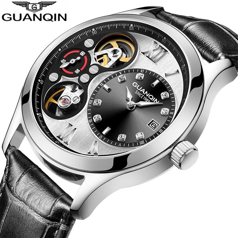 GUANQIN 2019 Watch Men Automatic Skeleton Waterproof Clock Mechanical Watch Gold Double Movement Free Shiping Erkek Kol Saati