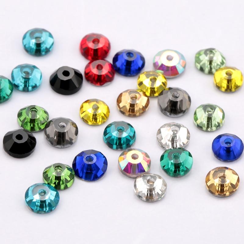 5mm Mycket Färg Glas Material 1440st Rund Rhinestone Crystal 5mm Sömnad sten platt baksida 1 hål klädsel dekoration tillbehör