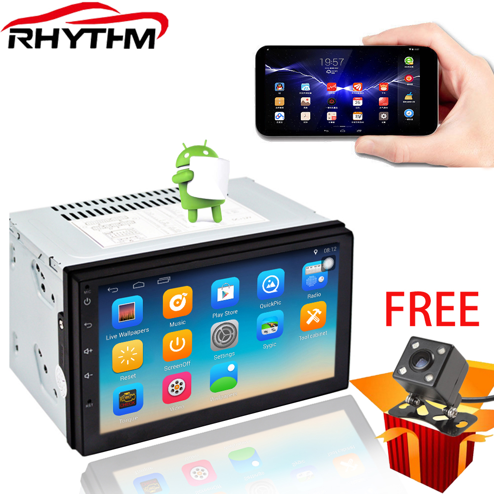 Rhythm 2 din android 7.1 car radio auto bluetooth double din multimedia player universal GPS Navigation 1024*600 support dab
