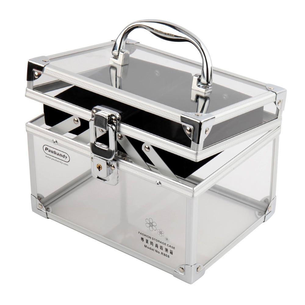 Acrylic Makeup Box Organizer with Lock Aluminium Alloy Makeup Organizer Clear Silvery Black Cosmetic Case Makeup Box Clear-in Cosmetic Bags & Cases from ...