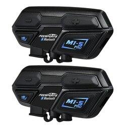 Fodsports 2 piezas M1-S Pro del intercomunicador del casco de la motocicleta Grupo 8 piloto casco auricular Bluetooth impermeable manos libres Interphone Moto