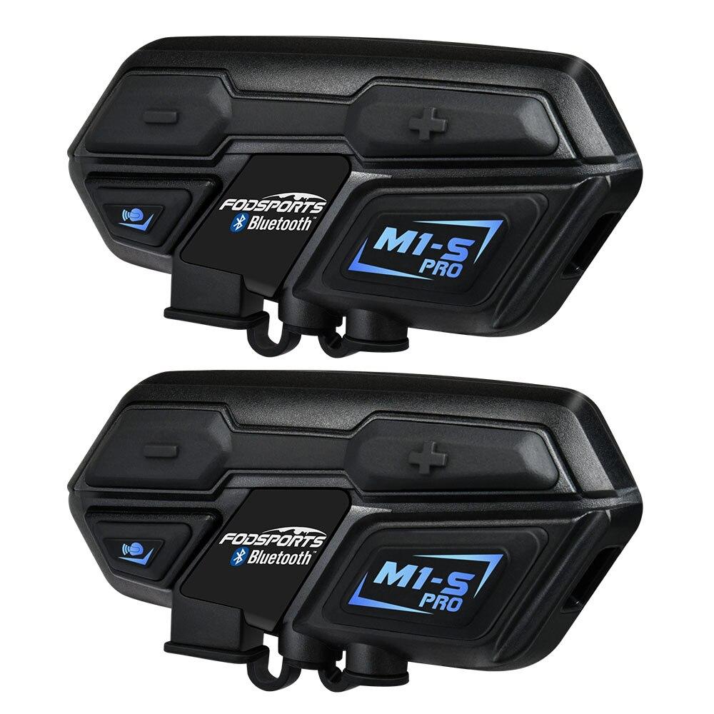 Sports nautiques 2 pcs M1-S Pro Moto Casque Interphone groupe 8 Rider Casque Bluetooth Casque Étanche Mains Libres Interphone Moto