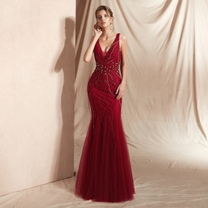 Image 3 - 와인 레드 댄스 파티 드레스 럭셔리 구슬 샴페인 인어 민소매 레이스 브이 넥 백 레스 롱 플로어 길이 우아한 이브닝 가운