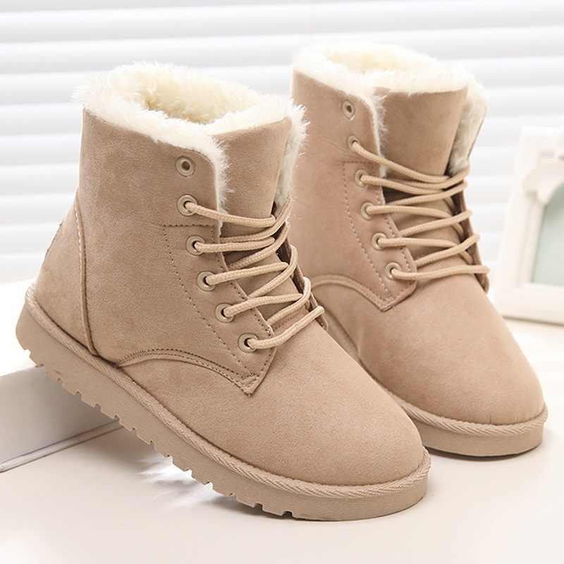 LAKESHI peluş kar botları kadın yarım çizmeler kadın botları için kadın kış botları kış ayakkabı kadın kürk sıcak Lace Up düz patik