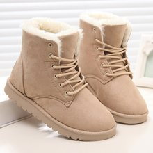 LAKESHI Plush Snow Boots Women Ankle Boots For Women Boots Female Winter Boots Winter Shoes Woman Fur Warm Lace Up Flat Booties(China)