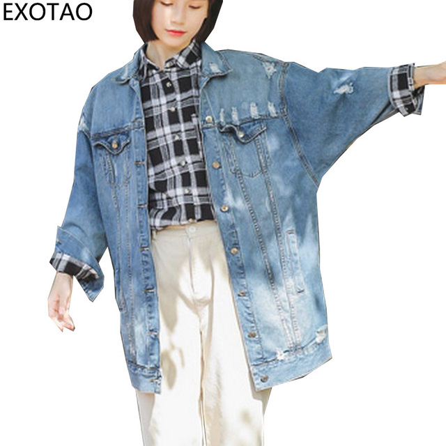 f22cffcc03e92 EXOTAO Ripped Female Denim Coats Loose Veste Jean New Turn-down Collar Jeans  Jacket Women