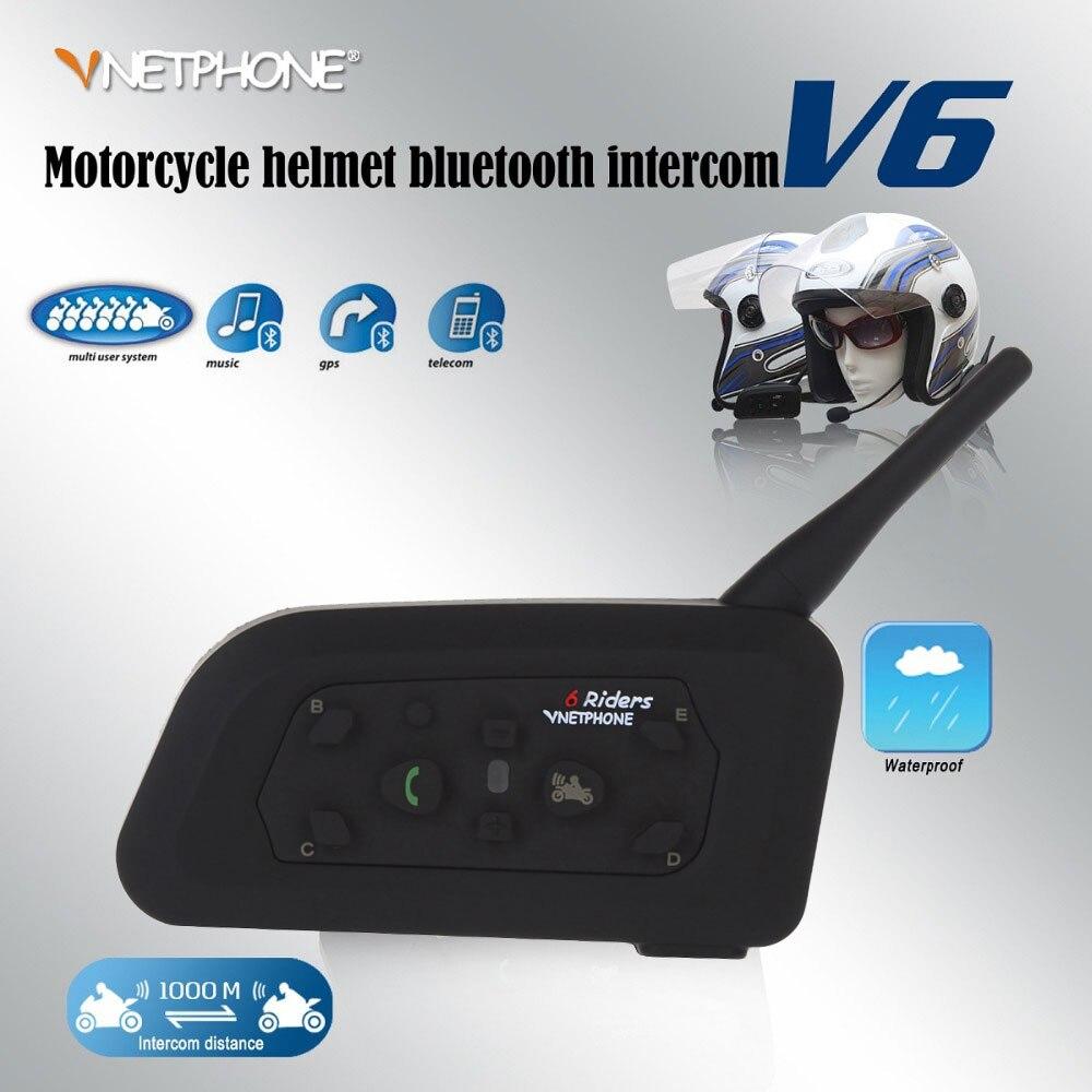 Vnetphone 1Pcs V6 Multi BT Interphone 1200M Motorcycle Bluetooth Helmet Intercom Intercomunicadores Microphone Intercom Headset