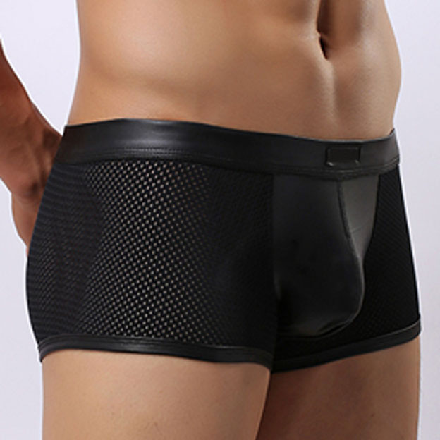 Sexy Men Novelty Shorts Boxers Underwear Faux Leather Mesh Cueca Sheathy Mens Sexy Boxers Panties Underpants Stage Gay Homewear