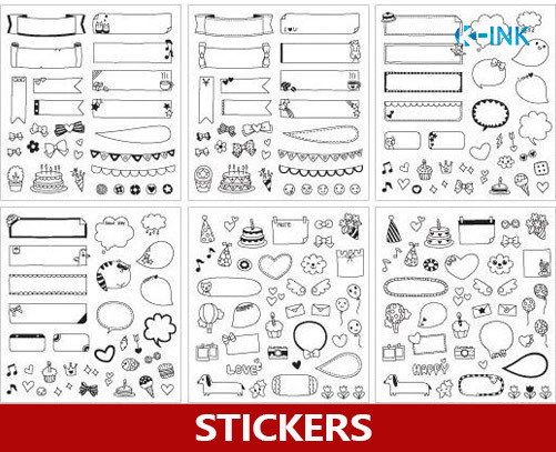 15 sets / lot , Black  White Birthday Party Chat Frame Stickers
