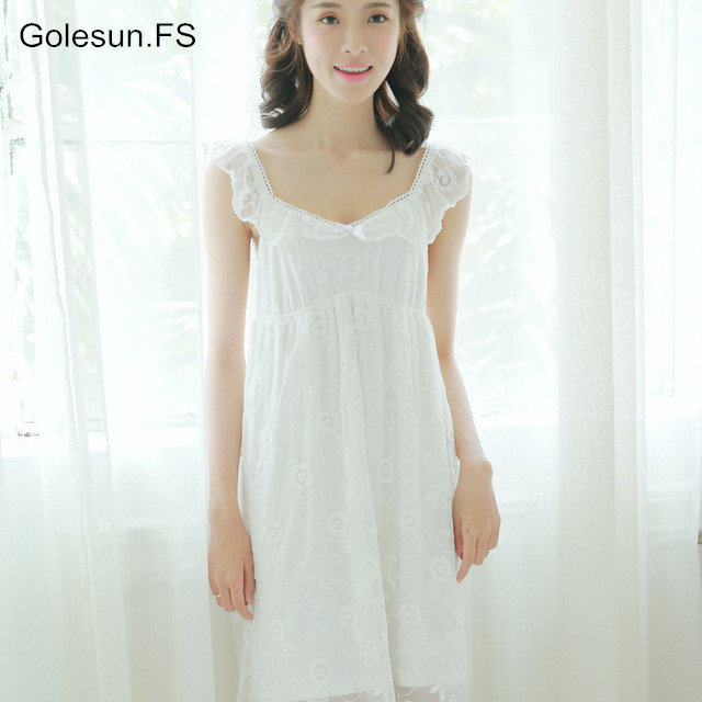 e0a6bf9d32 Women Sexy condole female sweet princess palace summer cotton bud silk  nightgown sunflower han edition leisurewear nightgown