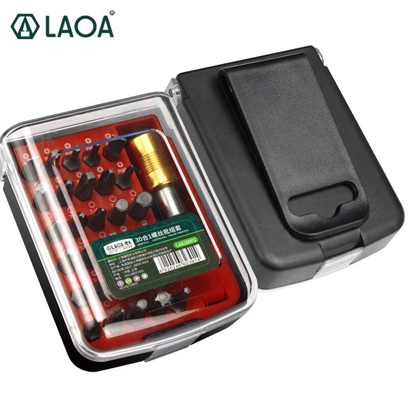 LAOA 30 in 1 Multifunzione Anti-ruggine Cacciavite Elettrico bit Kit S2 Air Cacciaviti Bit Set Con 1/4 Estendere L'asta e Toolkit