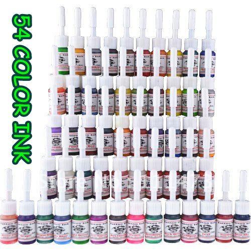Beginner Tattoo Kit Set 54 color Inks Power 2 machines Guns kit 12-9