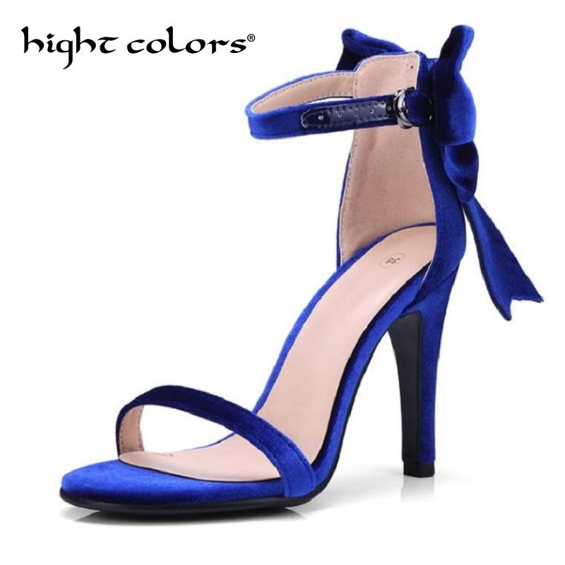 2018 Fashion Shoes Red Plus Size 34 43 Ankle Strap High Heels Shoes Women Bow Open Toe Party Shoes Stiletto Gladiator Sandals red high heels women shoes open toe ankle strap blue sandals stiletto chic fringed party d orsay shoes ladies large size 16