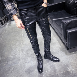 Image 4 - New Arrival Motorcycle Biker Skinny Pant Men Gothic Punk Fashion PU Leather Pants Hip Hop Zippers Black Leather Trousers Male