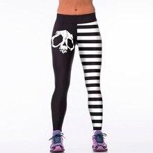 New 008 Sexy Girl Leggings Comics Skull black and white stripe Prints High Waist Running Fitness
