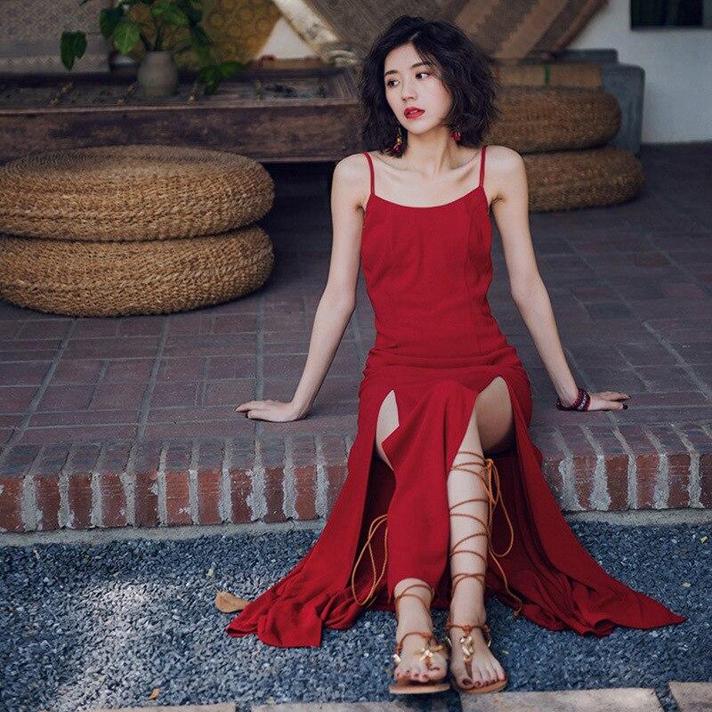 Ubei New style beach holiday backless maxi dress retro red slit beach halter dress sexy chiffon vintage chiffon dress women in Dresses from Women 39 s Clothing