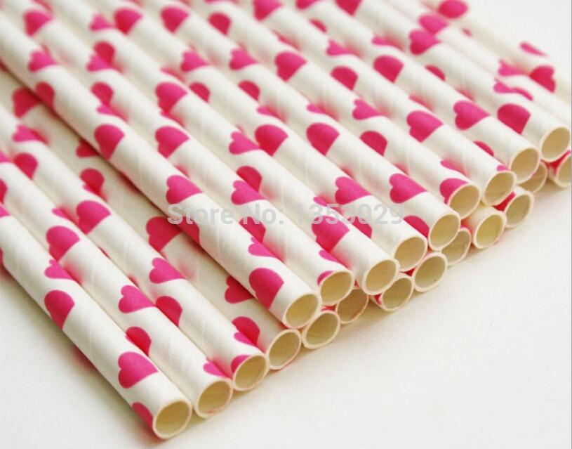 Envío gratis jardín tema 50 unids rosada del corazón paja de papel festivo y fie