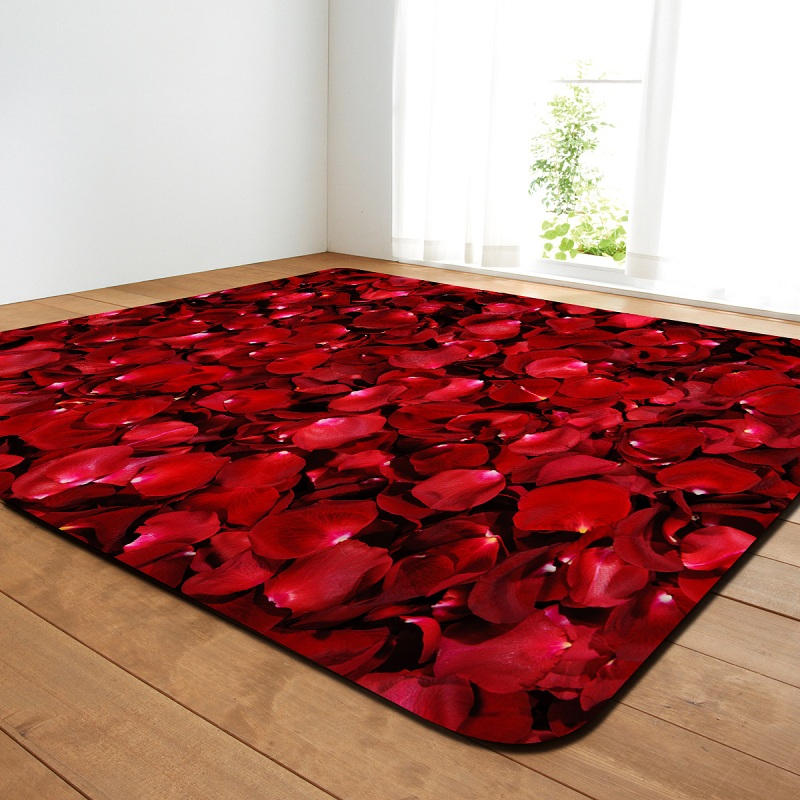 Tapis d'impression de pétale de Rose rouge tournesol pour le salon moderne chambre enfants tapis enfants tapis anti-dérapant Sajad tapis rond