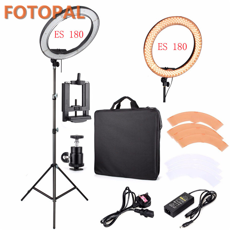 Fotopal LED Ring Light For Camera Photo/Studio/Phone/Video 1255W 5500K Photography Dimmable Ring Lamp with Plastic Tripod Stand yongnuo yn128 camera photo studio phone video 128 led ring light 3200k 5500k photography dimmable ring lamp for iphone 7 7 plus