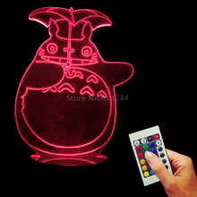 My Neighbor Totoro 3D Optical Illusion LED USB Charging Night Light Baby Sleeping Lamp
