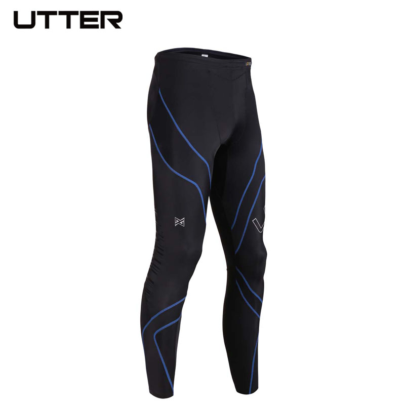 UTTER J4 Mens Long Blue Running Tights Sport Legging Compression Pants for Sportswear Basketball Fitness Clothing ...