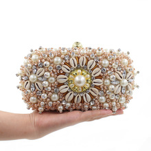 Beaded Women Evening Bags Small Purse Day Clutches Rhinestones Wedding Handbags Chain Punk Design Pearl Party Bag