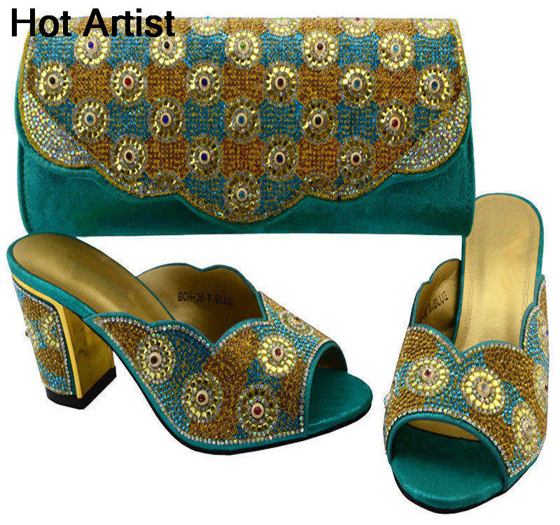 Hot Artist Fashion Woman Slipper Shoes And Bags Set African Desgin Rhinestone High Heels Shoes And Bag Set For Party BCH-36  africa style pumps shoes and matching bags set fashion summer style ladies high heels slipper and bag set for party ths17 1402