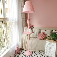 Artpad Nordic Modern Floor Lamp Princess Pink Fabric Lampshade Iron E27 LED Standing Floor Light For Wedding Girl Bedroom Decor