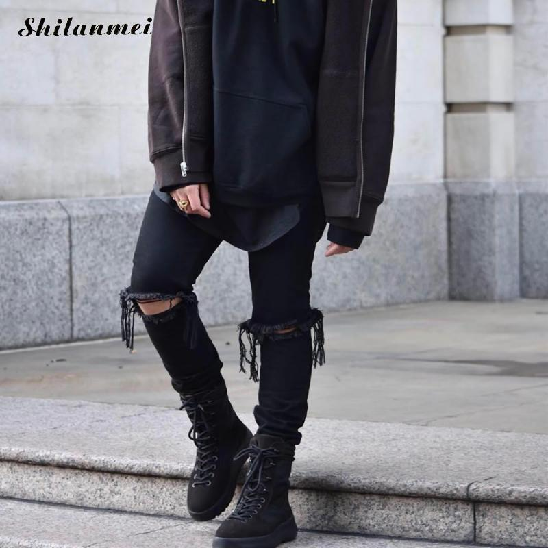 2017 Zipper Black Ripped Jeans Men With Holes Denim Super Skinny Famous Designer Brand Slim Fit Jean Pants Scratched Biker Jeans