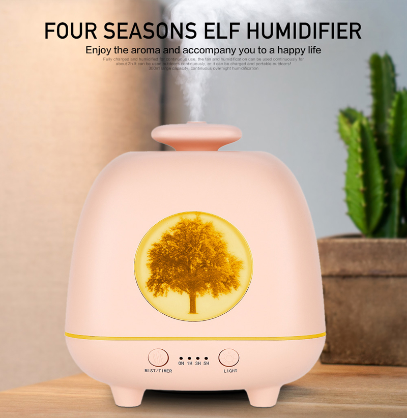 230ML Four Season ELF Humidifier Aroma Essential Oil Diffuser With Colorful Gradient Atmosphere Ligths Ultrasonic Mist Maker