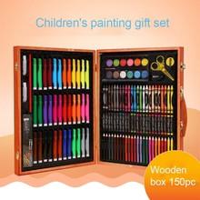 150 шт. акварельные художественные маркеры для рисования, набор кистей, детский художественный Набор для рисования, подарок для детей в деревянной коробке, канцелярские принадлежности