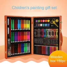 Set de 150 Uds de pinceles para pintar con acuarela, conjunto de Arte de dibujo para niños, regalo en caja de madera, suministros de papelería