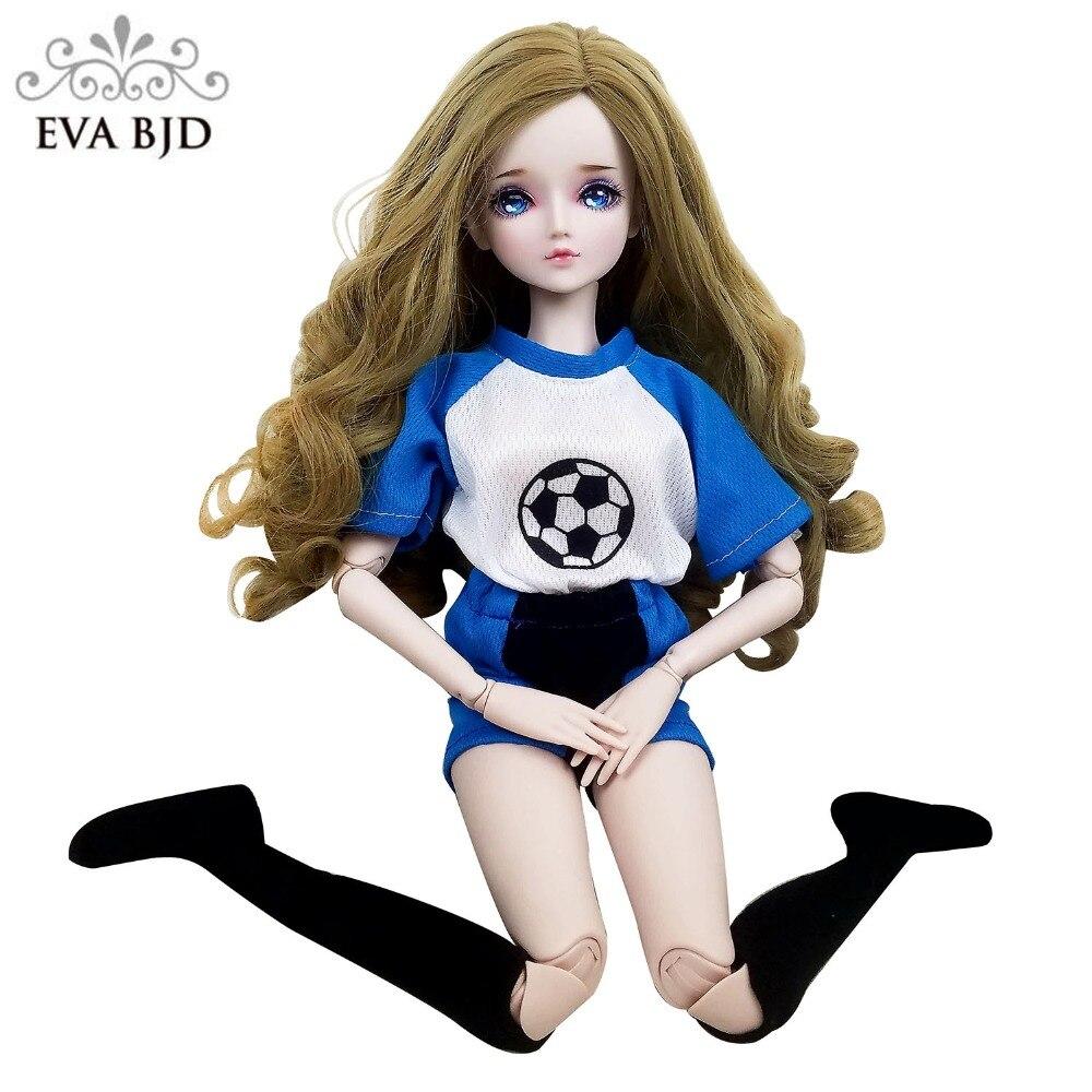 22 1/3 EVA BJD кукла Футбол девочка Косплей SD кукла 22 дюймов куклы Действие + ручной Макияж + полный комплект парик одежда обувь мяч