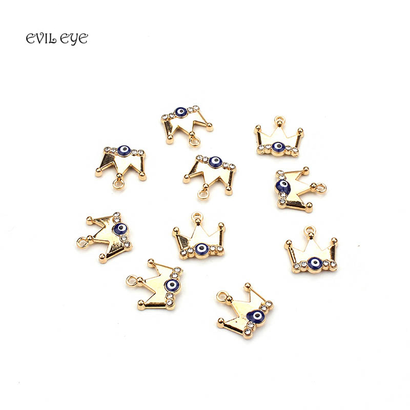 10pcs / lot 13 * 15mm Blue Evil Eye Crown Charm Beads Connectors Bracelet Necklace Accessories For Jewelry Findings Components