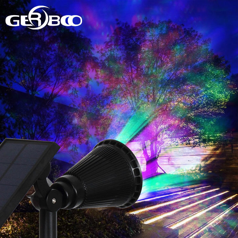 7 LED Solaire Spot Light Auto Changement de Couleur Éclairage Extérieur Imperméable À L'eau Solaire De Sécurité Alimenté Paysage Mur Lumière