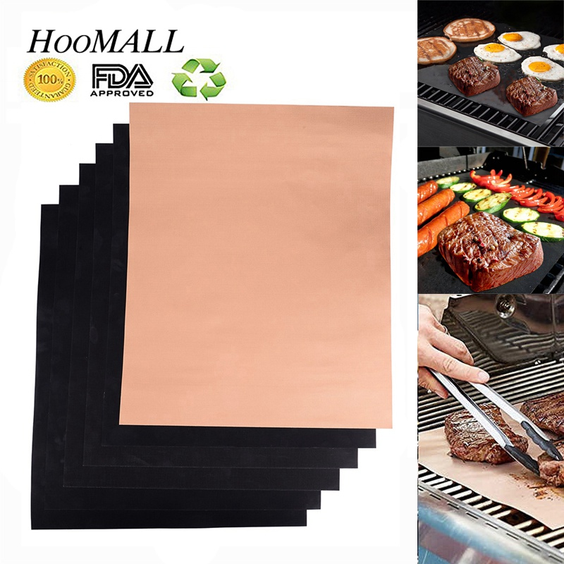 Hoomall 44x33cm Glass Fiber PTFE Nonstick BBQ Grill Mat Pad Sheet Portable Easy Clean Cooking Tool Outdoors Barbecue Accessories