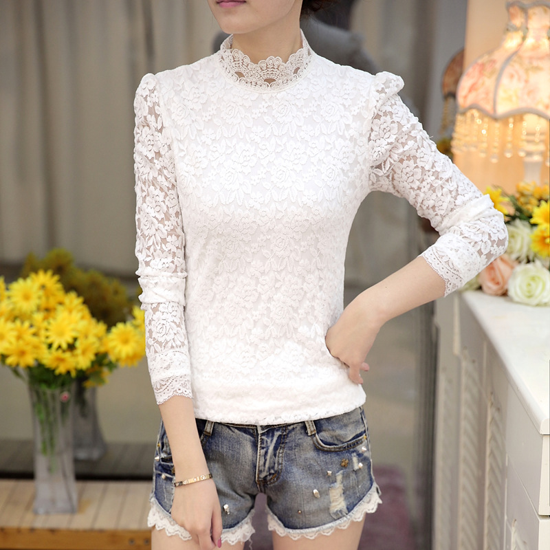 2018 high quality white lace flower blouse shirt hollow out mesh 2018 high quality white lace flower blouse shirt hollow out mesh transparent blouse blusas women long sleeve blouse tops 501b mightylinksfo