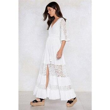 3fe0fef8f04 Летние платья и сарафаны Boho платья для женщин белое кружевное пляжное  платье Длинная пляжная одежда уличная
