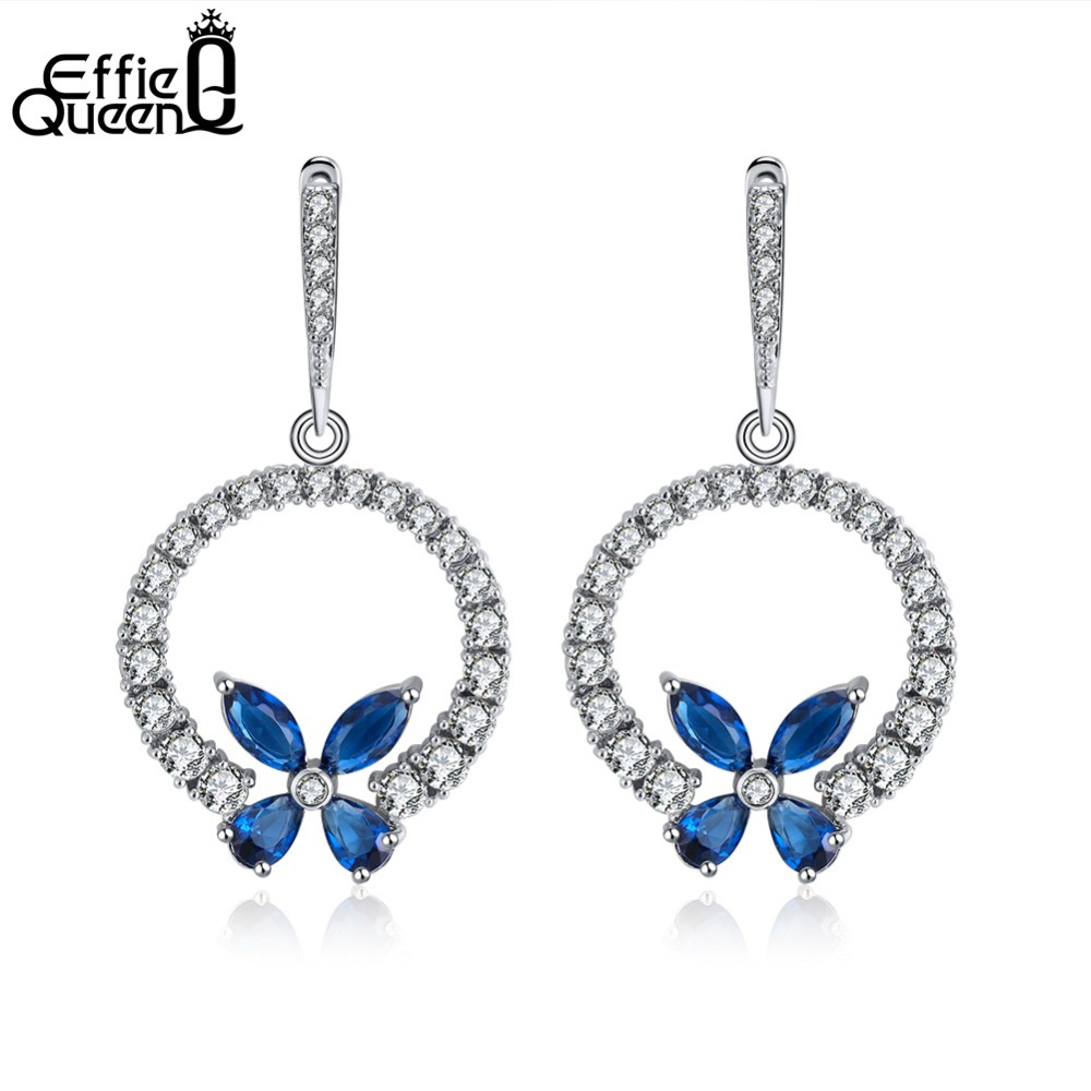 c530a0bb9 Effie Queen Beautiful Silver Color Dangle Earrings Round Circle Flower Blue  and Red Color Color Cubic Zirconia Earring DE172
