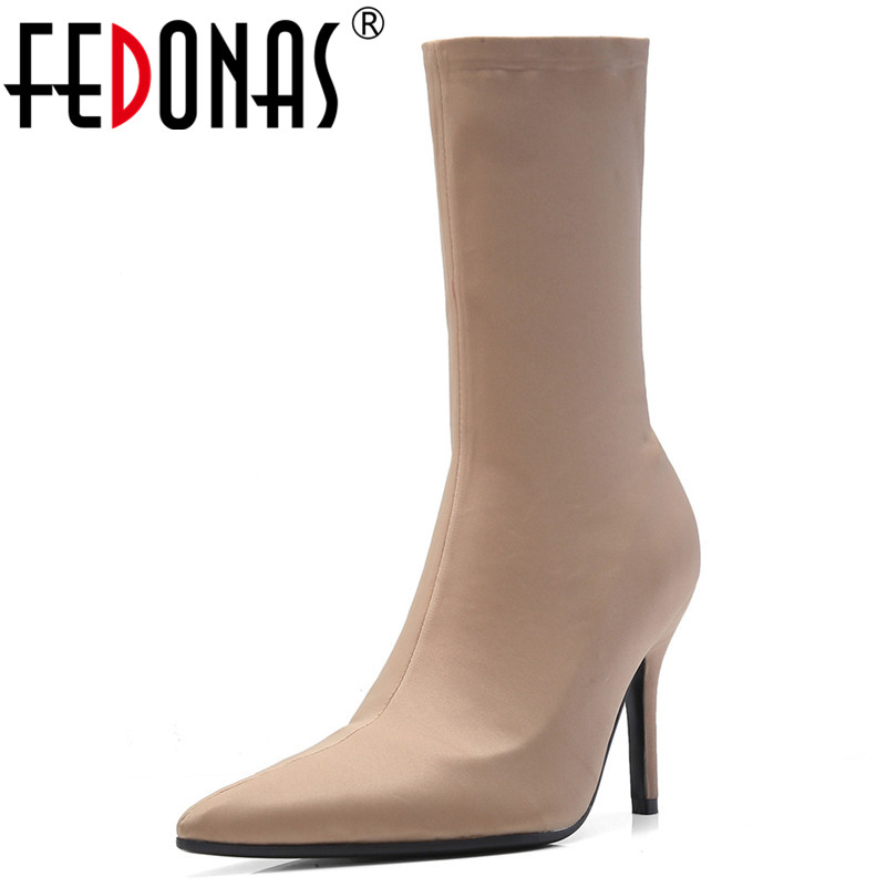 FEDONAS New Brand Women Mid-calf Boots Pointed Toe Stretch Boots Ladies Autumn Party Daning Shoes Woman Thin High Heels Boots FEDONAS New Brand Women Mid-calf Boots Pointed Toe Stretch Boots Ladies Autumn Party Daning Shoes Woman Thin High Heels Boots