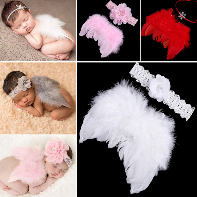 Newborn photography props infant baby girls boy angel feather wings feather photo prop wings headband clothing